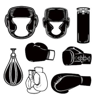 Ensemble d'éléments de conception de boxe. casque de boxeur, gants, sacs.