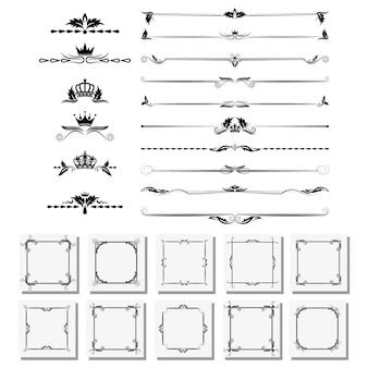 Un ensemble d'éléments de conception, cadres, séparateurs, bordures.