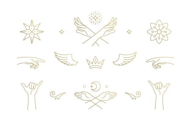 Ensemble d'éléments de conception de décoration élégante ligne - ailes et illustrations de mains de geste