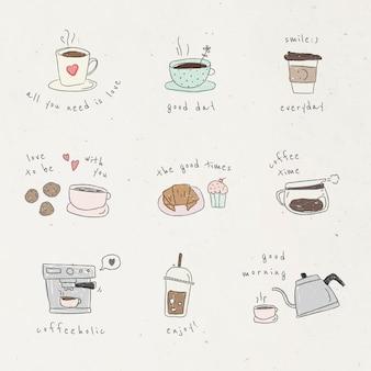 Ensemble d'éléments de conception de doodle café mignon