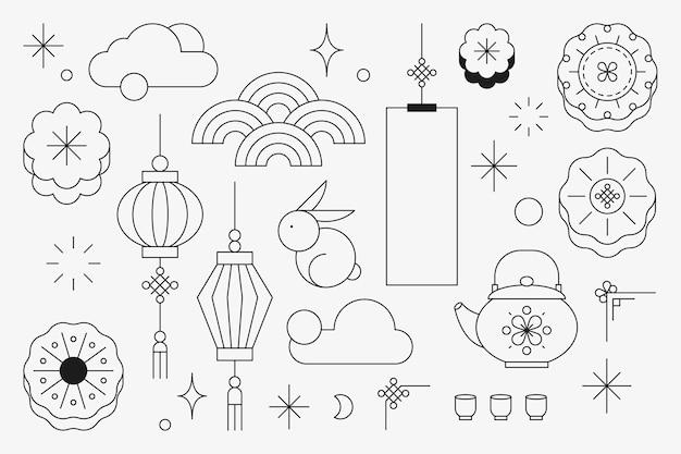 Ensemble d'éléments de conception du festival chinois de la mi-automne