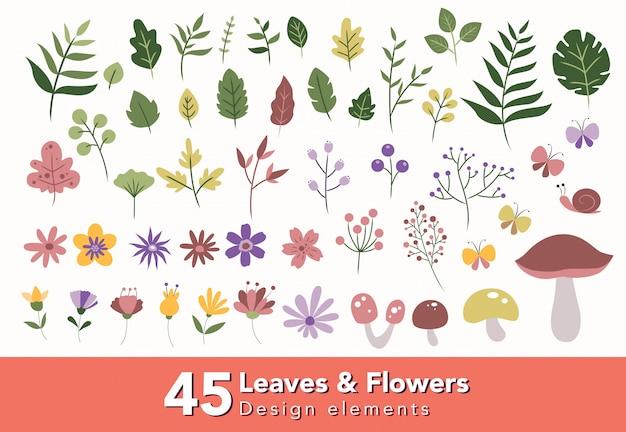 Ensemble d'éléments de conception de feuilles et de fleurs