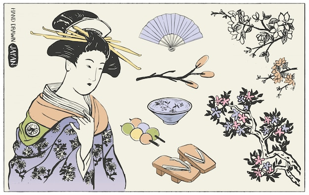 Ensemble d'éléments de conception japonais. illustration de femme geisha.