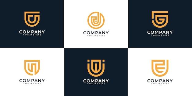 Ensemble d'éléments de conception de logo créatif lettre u
