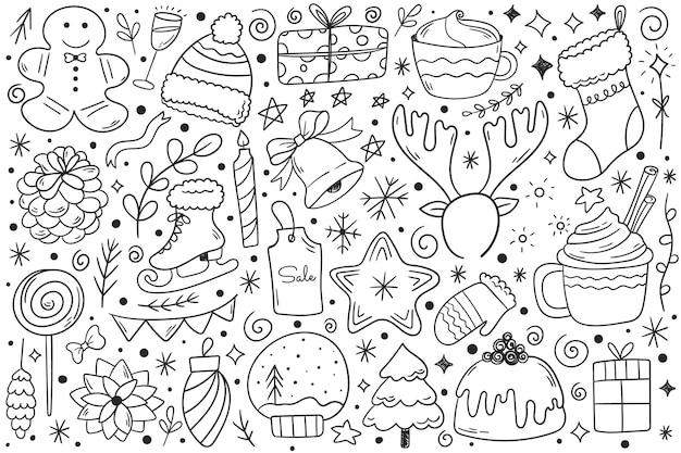 Ensemble d'éléments de conception de noël dans le style doodle. illustration vectorielle