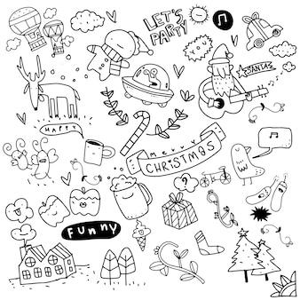 Ensemble d'éléments de conception de noël dans le style de doodle