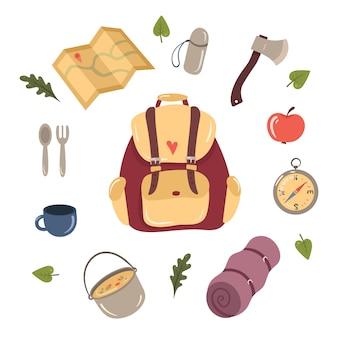 Ensemble d'éléments de conception de randonnée et de camping.