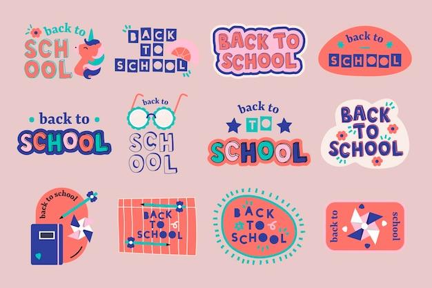 Ensemble d'éléments de conception de retour à l'école