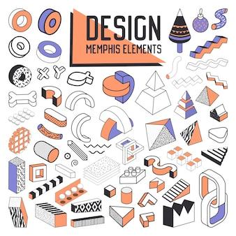 Ensemble d'éléments de conception de style abstrait memphis