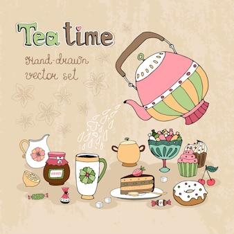 Ensemble d'éléments de conception teatime dessinés à la main avec une théière versant du thé chaud sur une cruche