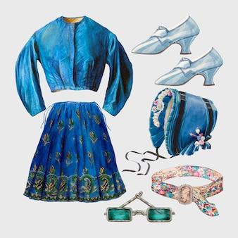 Ensemble d'éléments de conception de tenue vectorielle de mode féminine antique, remixé à partir de la collection du domaine public