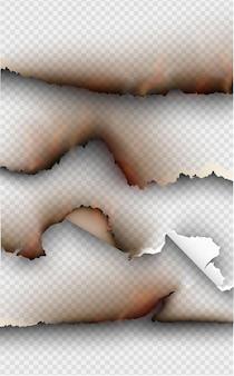 Ensemble d'éléments de conception transparente, modèles déchirés, papier déchiré.