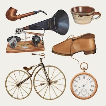 Ensemble d'éléments de conception vectorielle d'accessoires pour hommes antiques, remixé à partir de la collection du domaine public
