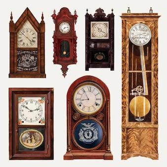 Ensemble d'éléments de conception vectorielle d'horloges anciennes, remixé à partir de la collection du domaine public
