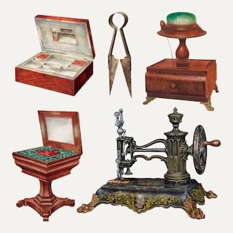 Ensemble d'éléments de conception vectorielle de matériel de couture antique, remixé à partir de la collection du domaine public