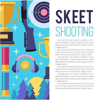 Ensemble d'éléments de conception vectorielle avec place pour le texte. tir au skeet.