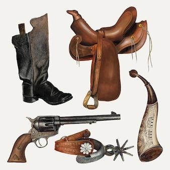 Ensemble d'éléments de conception vectorielle selle et accessoires de cowboy, remixé à partir de la collection du domaine public