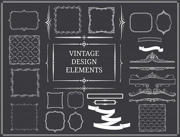 Ensemble d'éléments de conception vintage