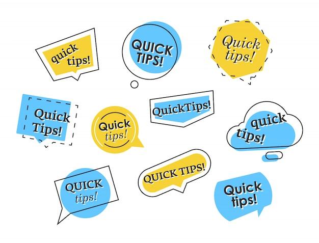 Ensemble d'éléments de conseils rapides colorés