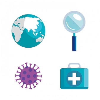 Ensemble d'éléments coronavirus