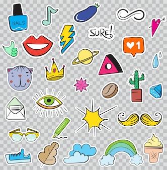 Ensemble d'éléments de correctifs comme fleur, coeur, couronne, nuage, lèvres, courrier, diamant, yeux. dessiné à la main . collection d'autocollants à la mode mignons. insignes et épingles de croquis doodle pop art.