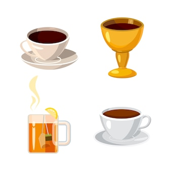 Ensemble d'éléments de coupe. jeu de dessin animé de tasse