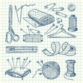 Ensemble d'éléments de couture dessinés à la main, isolés sur l'illustration de la feuille de cellule