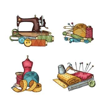 Ensemble d'éléments de couture dessinés à la main pile, aiguille et fil, bouton et ciseaux