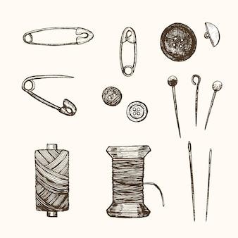 Ensemble d'éléments de couture hand draw sketch équipement de couture. design rétro pour l'illustration vectorielle d'affaires