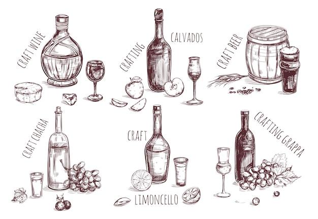 Ensemble d'éléments de croquis de boisson artisanale