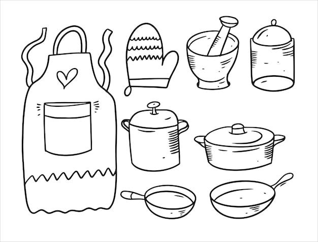 Ensemble d'éléments de cuisine doodle isolé sur blanc