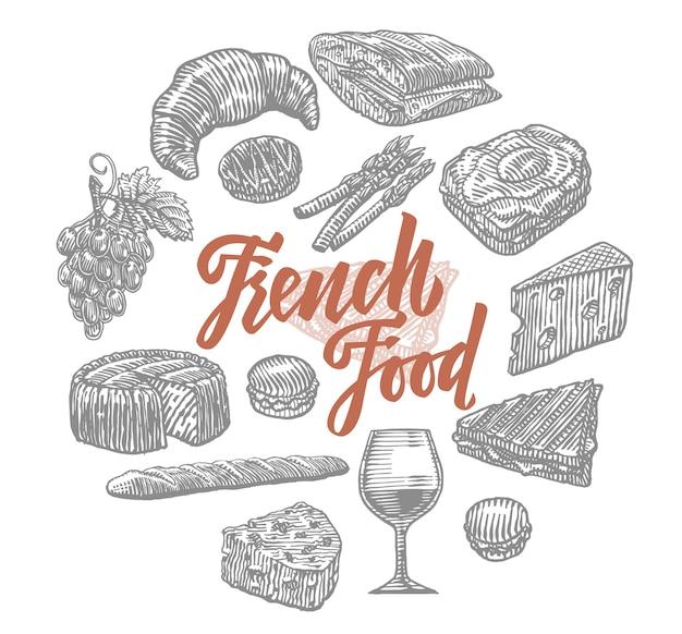 Ensemble d'éléments de cuisine française dessinés à la main