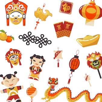 Ensemble d'éléments de la culture japonaise et chinoise