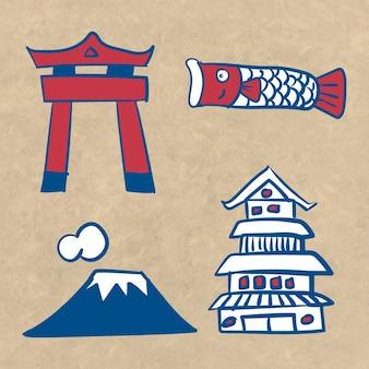 Ensemble d'éléments de la culture japonaise