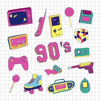 Ensemble d'éléments dans le style dessiné à la main des années 90