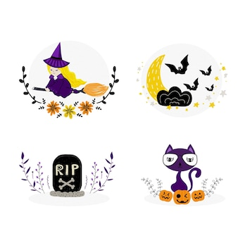 Ensemble d'éléments décoratifs de collection de diviseurs de frontières d'halloween avec la petite sorcière dessinée par han
