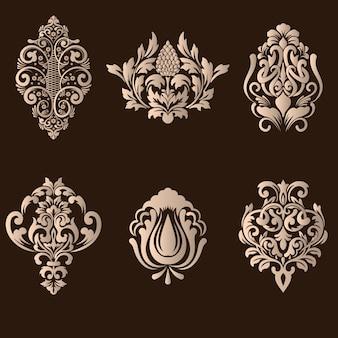 Ensemble d'éléments décoratifs damassés