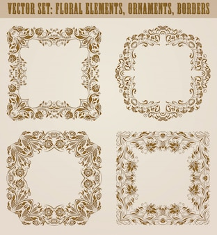 Ensemble d'éléments décoratifs dessinés à la main, frontière, cadre avec des éléments floraux pour la conception. décoration de page en style vintage