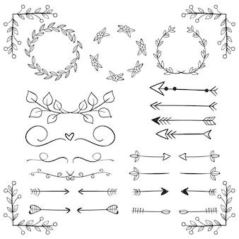 Ensemble d'éléments décoratifs dessinés