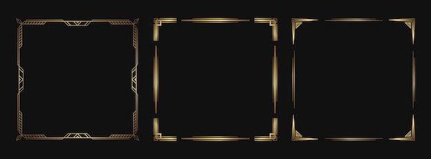Ensemble d'éléments décoratifs dorés. cadres et bordures art déco isolés pour la conception