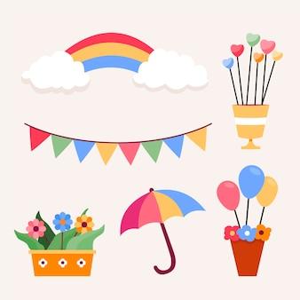 Ensemble d'éléments de décoration chuva de amor design plat