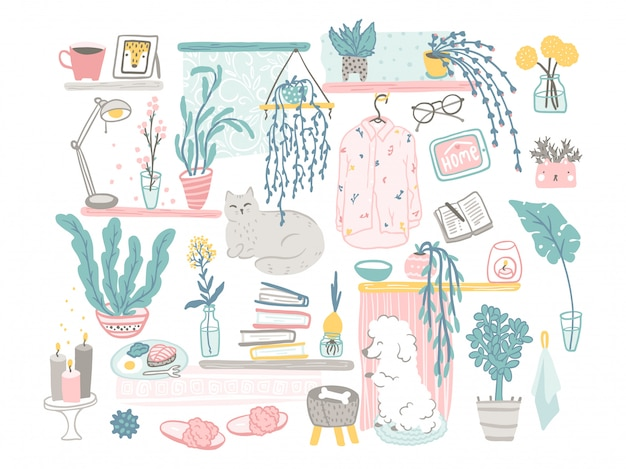 Ensemble d'éléments de décoration confortable. illustrations dessinées à la main de choses mignonnes et d'animaux de compagnie dans un style scandinave plat simple dessin animé dans une palette pastel. reste à la maison.