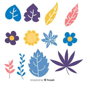 Ensemble d'éléments de décoration florale dessinés à la main