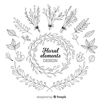 Ensemble d'éléments de décoration florale incolore