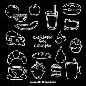 Ensemble d'éléments de denrée alimentaire dans le style de craie