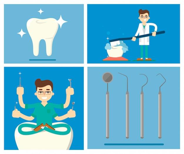 Ensemble d'éléments de dentiste