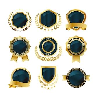 Ensemble d'éléments de design élégant et doré