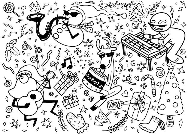 Ensemble d'éléments de design de noël dans un style doodle