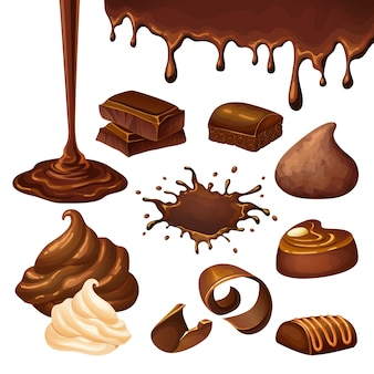 Ensemble d'éléments de dessin animé au chocolat