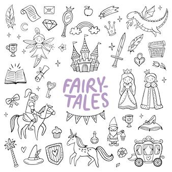 Ensemble d'éléments de dessin animé de conte de fées